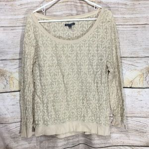 American eagle outfitters Tan lace long sleeve lg
